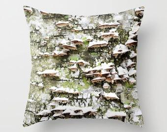 Photo Pillow Cover Decorative Mushrooms Pillow Rustic Pillow Tree Pillow