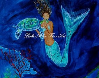 """Mermaid Mermaids Woman Sea Turtle Girls Underwater Ocean Seascape Fantasy Sea Mythical  """"Mermaid And The Sea Turtle""""  Leslie Allen Fine Art"""