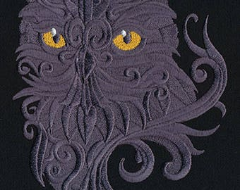 BAROQUE OWL EMBELLISHED Piercing Eyes Machine Embroidered Quilt Square, Art Panel