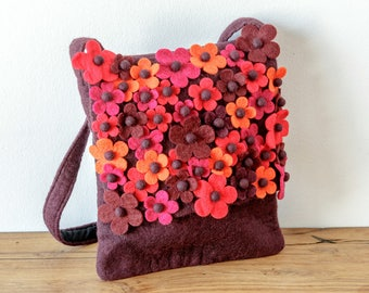Felt bag flowers eggplant orange or turquoise shoulder bag felt felt flower berry Pink Blue Green