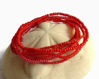 Boho seed bead bracelets, red beaded stretch bracelets, christmas bracelet, minimalist bracelet, bridesmaid gift