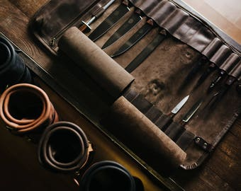 Leather knife roll Chefs roll by Kruk Garage Gifts for chef's Leather knife bag Knives storage Tool roll Birthday gift FREE PERSONALIZATION