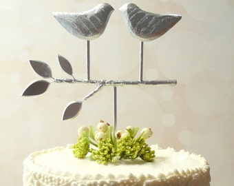 Bright Silver Topper,  Love Bird Cake Topper, Rustic Wedding Cake Topper for a Wedding