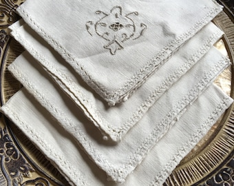 Vintage Embroidered Linen Napkins Beige Fabric Matching Set (8) - #11023