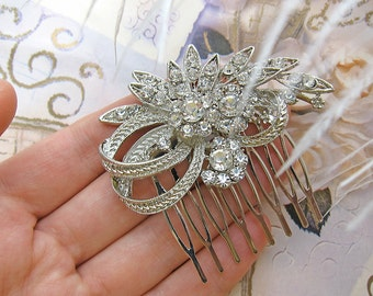 Wedding Hair comb Wedding hair accessories Wedding hair pieces Crystal hair comb Flower hair piece Vintage inspired hair accessory for bride
