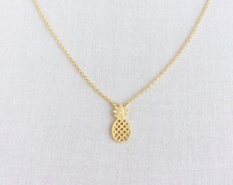Pineapple Necklace - Gold Pineapple Necklace - Pineapple - Pineapple Jewelry Gold Plated Pineapple Necklace - Tiny Pineapple Necklace, GPN1