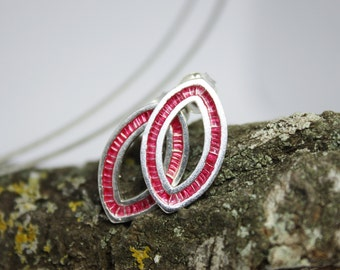 STERLING SILVER EARRINGS. Enamel Earrings. Minimalist Earrings. Stud Earrings. Burgundy Red Enamel Sterling Silver Earrings