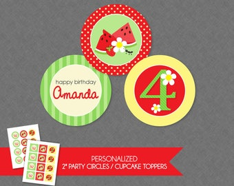 Sweet Picnic 2'' Cupcake Toppers / Birthday Party Circles