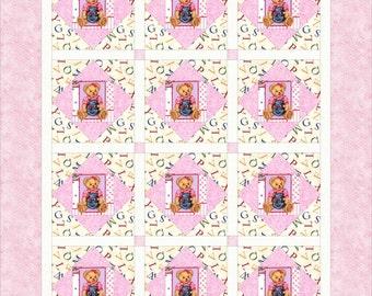 Pink Alphabet Teddy Bear Baby Crib Quilt - Toddler Lap Blanket - Baby Girl Shower Gift