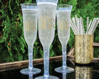 Personalized Champagne Flutes, Custom Printed Champagne Glasses, Monogram Disposable Champagne Flutes
