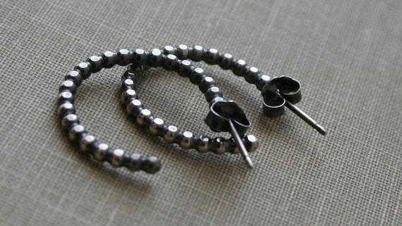 Dot Antique Black Sterling Silver Hoop Post Earrings