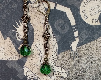 Green Flapper Earrings - Art Deco Jewelry - Art Deco Earrings - Miss Fisher - 1920s Jewelry - Bridesmaid Jewelry - Womens Jewelry