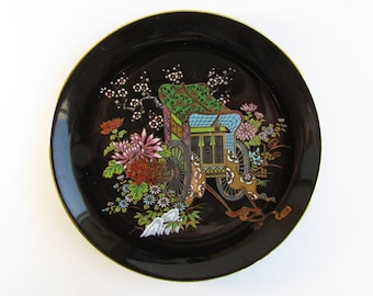Black Chinese Plate with Scene of Wagon and Chrysanthemums, Vintage