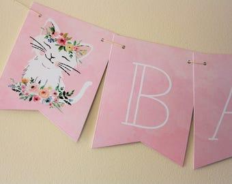 Kitten Banner. Kitten Theme. New Baby. Baby Shower Banner. First Birthday. Birthday Banner. Floral Theme. Floral Banner. Pink Banner. Custom