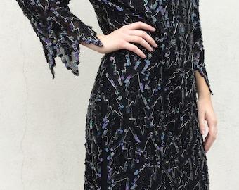 Dazzling 1980s does 1920s Disco Silk Sequin Beaded Dress