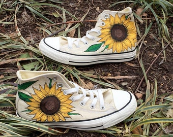 Custom Hand-Painted Sunflower Converse Shoes