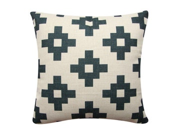 "Geometric Pillow Cover, Black Cushion Cover, Scandinavian Pillow, 18""x 18"" Decorative Pillow, Geometric Cushion, Tribal Cushion 317"
