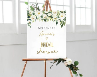 Personalised Bridal shower sign, PRINTABLE Bridal shower welcome sign, Floral hens party sign, Bachelorette party sign, Bridal shower decor