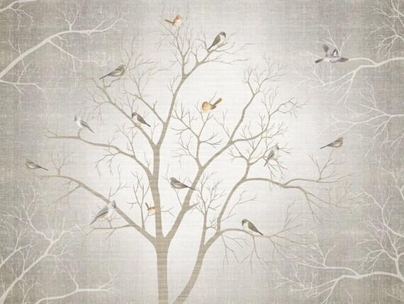 Branch Birds Wallpaper Wall Decal Art Dreamy Winter Woods Tree