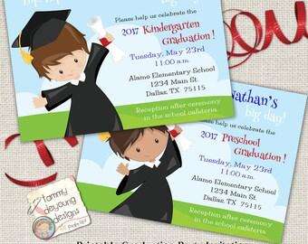 Boys Graduation Invitation, Kindergarten Graduation Announcement, Preschool Graduation Invite, Customized Invitation for kids, You Print
