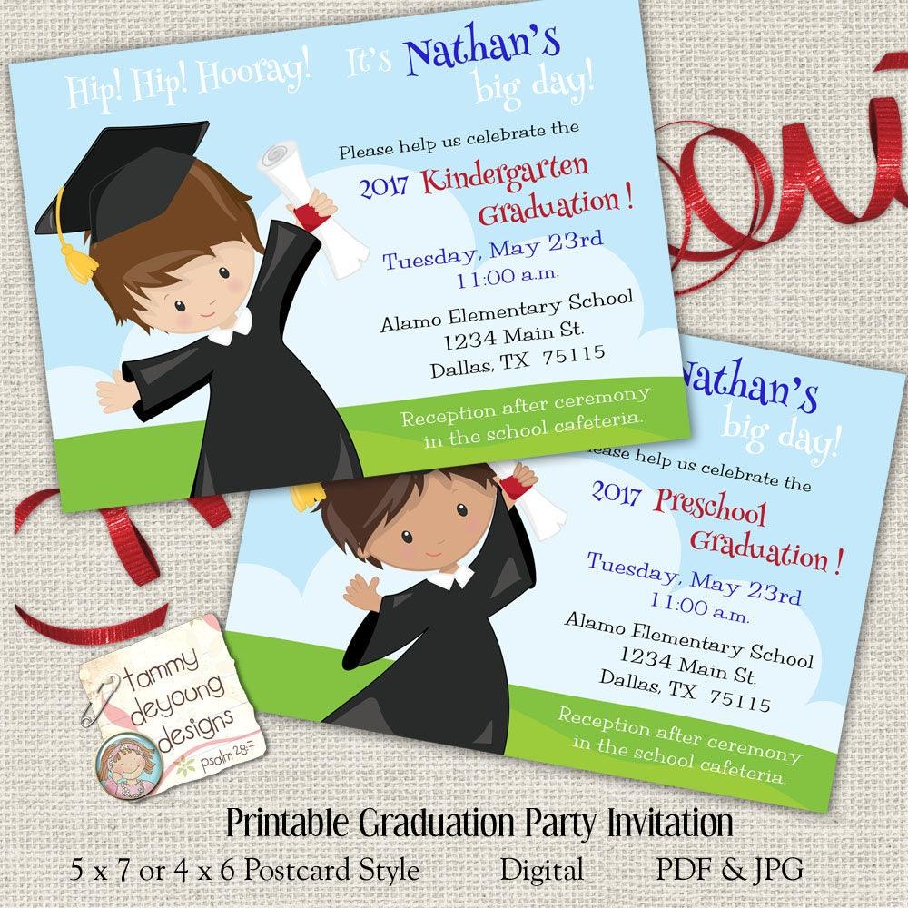 Boys Graduation Invitation Kindergarten Graduation