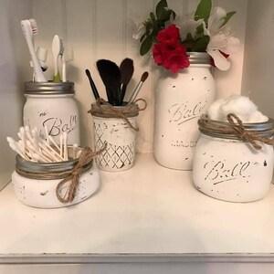 Painted Mason Jars Bathroom Set|Mason Jar Bathroom Set|Farmhouse Bathroom  Decor|Rustic