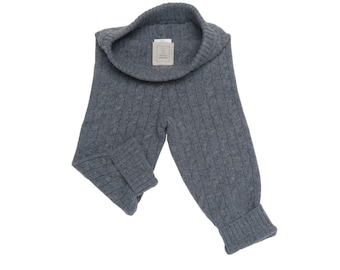 100% Cashmere Baby Unisex Cable Legging - Heather Grey