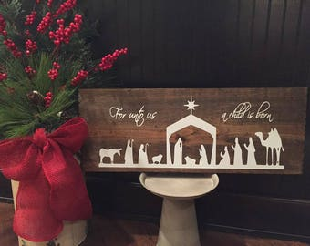 Nativity Scene - Christmas - Wood Sign
