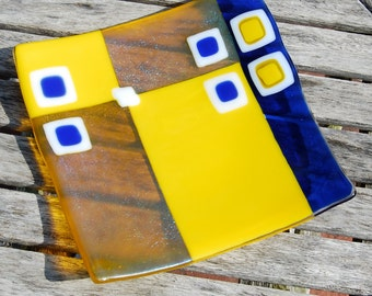 Fused Glass Plate Freesia Yellow and Cobalt Blue - Wedding Gift