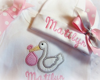 Personalized Take home outfit girl, Hospital Name Hat for Baby, Newborn girl coming home outfit, baby stork