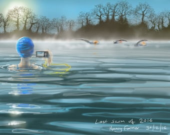 """Art print - 'Last Swim of 2016 or """"Why do you do it?""""' - open water swimming, wild swimming, A4 or A3 size."""