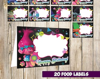 20 Troll Food Tent Cards instant download, Printable  Troll Labels,  Troll labels party printable,  Troll printable