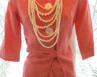 Red gingham suit skirt jacket white button front  60's mid century xs from vintage opulence on Etsy