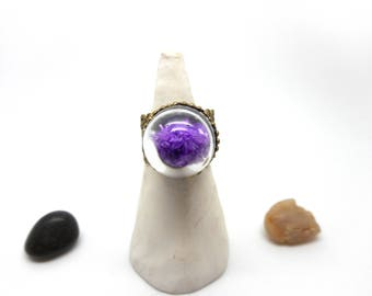 Purple frosted glass globe ring