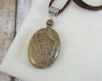 Bohemian Necklace, Brown Leather Necklace, Picture Jasper Necklace, Brown Boho Leather Necklace, Suede Cord Necklace, Gift Ideas