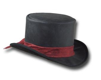 VE Adventures Leather Top Hat 3041BL - Black