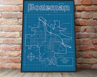 Bozeman Map / Original Artwork / Portland Blueprint / Wall Art / Gift for Him / Street Map / Montana Map / Graduation Gift