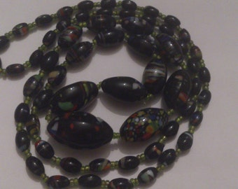 heavy vintage murano glass bead necklace