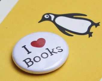 Badge / Pin / Pinback Button - Love / Heart / I <3 Books - Book Lover Gift - Novel Gift - Stocking Filler