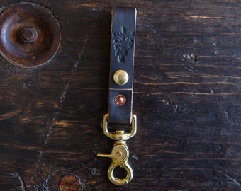 Painted Black Leather Belt Fob with Brass Scissor Snap *Scuffs to brown to pair with Red Wing Klondike Leather*