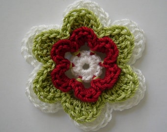 Crocheted Flower - White, Lime Green and Red - Cotton Flower - Crocheted Flower Embellishment - Crocheted Flower Applique