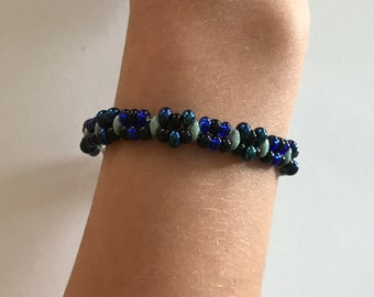 Blue and black double beaded bracelet