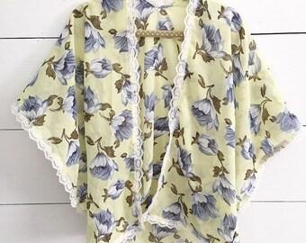 RTS Lavender Lemonade Kimono - Chiffon Kimono - Yellow Kimono - Floral Kimono