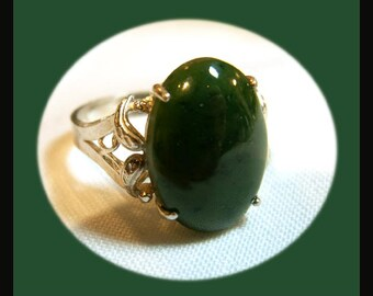 Jade and Silver Ring VJB0019