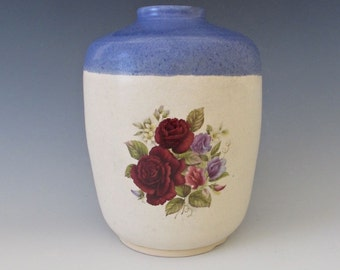 Vintage Style Vase. Cabbage Roses & Sweet Peas, Foliage.  Cornflower Blue, Creamy White, Deep Red, Dusty Pink, Periwinkle Blue, Sage Green