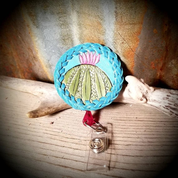 Leather Cactus ID Badge Holder, Retractable ID Badge,