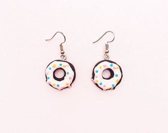 Chocolate Frosted Donut Earrings - Donut Earrings - Kawaii Earrings - Fairy Kei Earrings - Lolita Earrings - Candy Earrings - Food Earrings