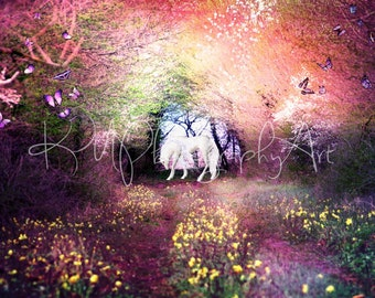 Unicorn Forest Background, Instant download, Digital file