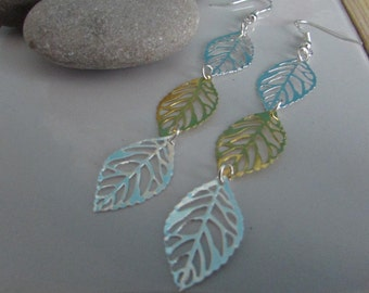 Long Leaf Earrings, Delicate Earrings, Silver Earrings, Gold Earrings, Leaf Earrings, Nature Jewellery, Extra Long Earrings
