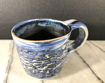 Handmade Textured porcelain ceramic carved blue mug